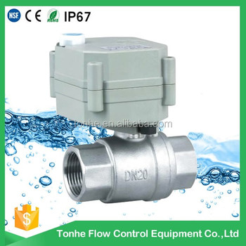 "2 way 3/4"" inch normal closed motorized stainless steel ball valve AC/DC9-35V with manual override"