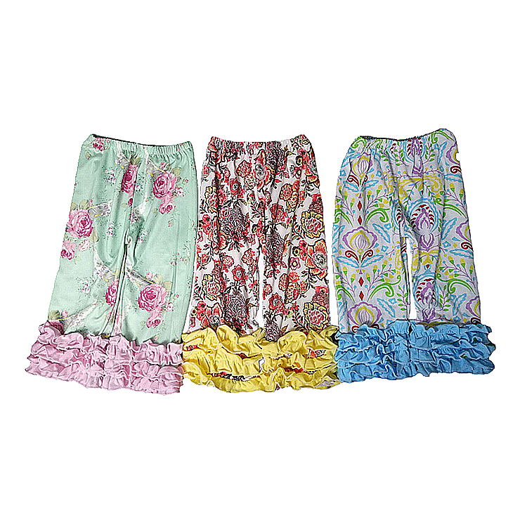 wholesale girls triple ruffle Christmas pants giggle moon latest design cropped trousers for children
