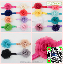 Chiffon rose flower wholesale crystal hair accessories baby headband crochet hair accessories MY-AC0069