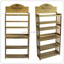 Customized solid wood retail use rack/stand pet dog cat food display