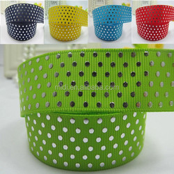 Glue Ink screen print and Silver hot stamping print Grosgrain ribbon print dot garment ribbon