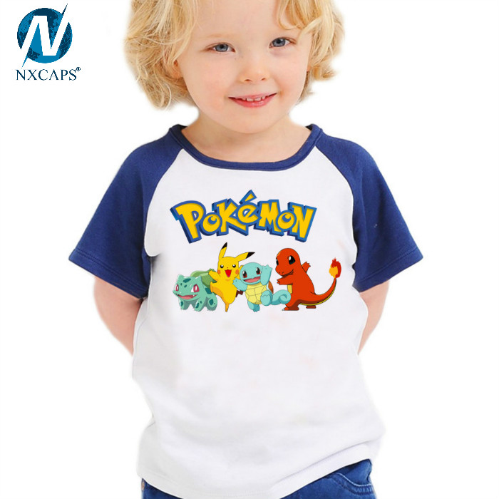 T-shirt pokemon shirt cute boys clothing Short Sleeve cartoon pattern cotton boys clothes Pikachu Charmander children t shirts