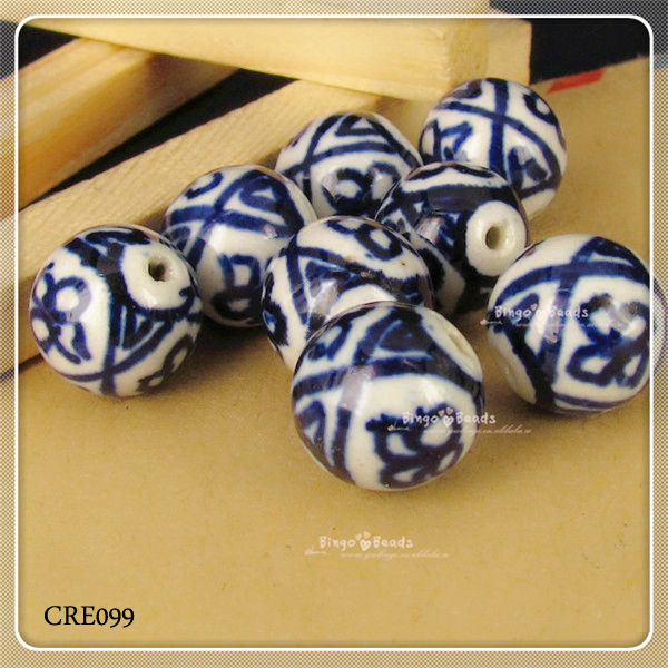 Ceramic Beads Bracelet Oriental Bracklet Chinese Ceramic Oriental Blue And White Porcelain Bead With Elastic Band