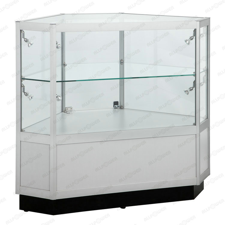 Toughened glass cosmetic counter, lockable mdf display showcase