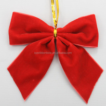 Customized Christmas red Velvet ribbon bow Christmas satin ribbon bow Christmas printed ribbon bow with wire twist tie
