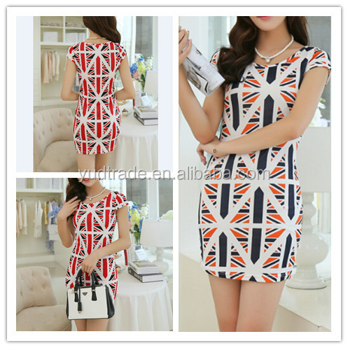 Printing The new summer 2014 Women Casual Dress Fashion Short Sleeve Korea dress