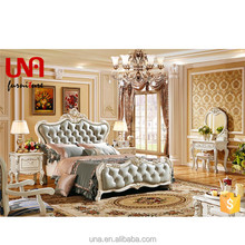 Una super king size customized wood bed hand carved luxury bed room set furniture