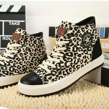 SF1042 In The Spring Of 2014 New Leopard Muffin High Heel Canvas Shoes For Women