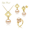 Wedding 18K 750 yellow gold Pink Freshwater Pearl Sets jewelry factory wholesale