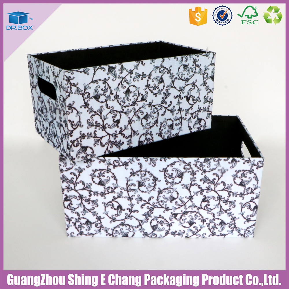 OEM fabric holiday black and white patterned cardboard storage boxes/fabric light box
