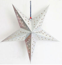 Lucky Silver hollow out shiny Star Paper Lantern for decoration