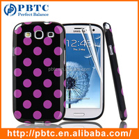 Set Screen Protector And Case For Samsung Galaxy S3 I9300 , Dot Pattern Hard Gel TPU Mobile Phone Cover Case