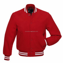 High Quality China Manufacturer Thread Neck Blank Red Button Boys Varsity Letterman full Wool Jacket