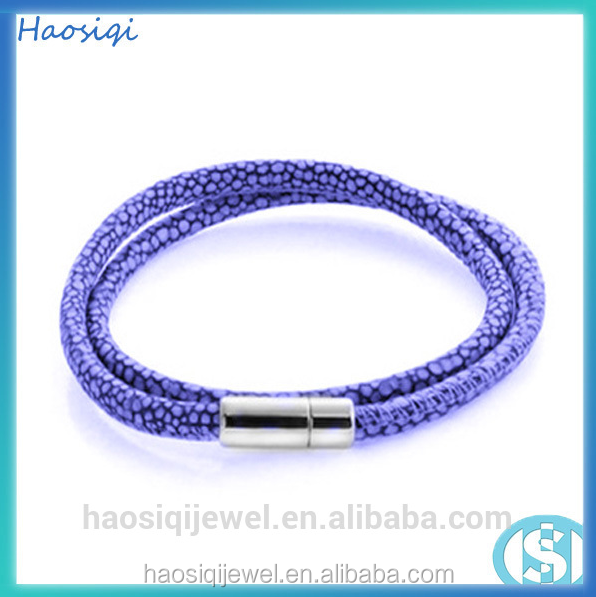 fashion jewelry infinity stingray leather bracelet bio magnetic bracelet