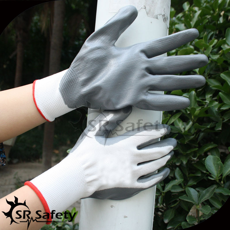 SRSAFETY 13G polyseter liner, Nitrile Palm Coated Glove, Smooth Surface.safety popular glove