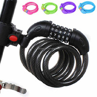2016 New Design Combination Coiled Cable Lock For Bike 12mm*125cm Code Tag Bicycle Lock Security Bicycle Bicycle Accessories