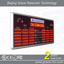 PC control Indoor horizontal LED currency exchange rate board