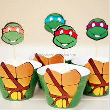 2016 New Turtles paper cup cake topper cupcake wrappers
