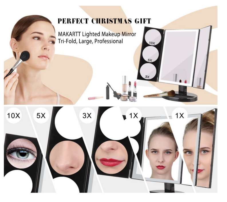 High Quality Plastic Three Sides Super Magnifying Led Makeup Vanity Mirror With Touch Sensitive Light Control