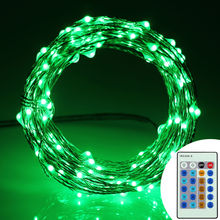 New design green hanging outdoor battery power with timer string light