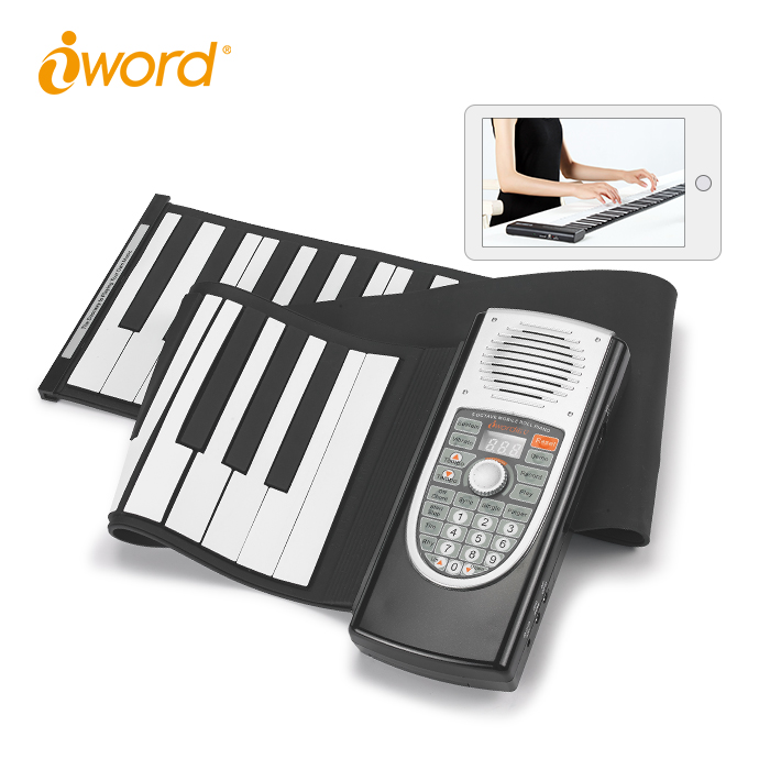 iWord Hand Flexible Roll Up Piano Built-in Speakers Bluetooth Digital Electronic Keyboard Rollup Piano 61 Keys