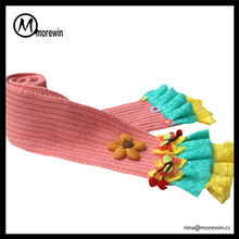 Morewin brand girls' fancy winter scarf custom colorful knitted scarf with lace kid scarf