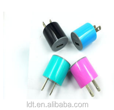 ABS Material colorful dual port usb wall charger cylindrical charger