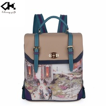 Wholesale fashion brand leather school bags for lady