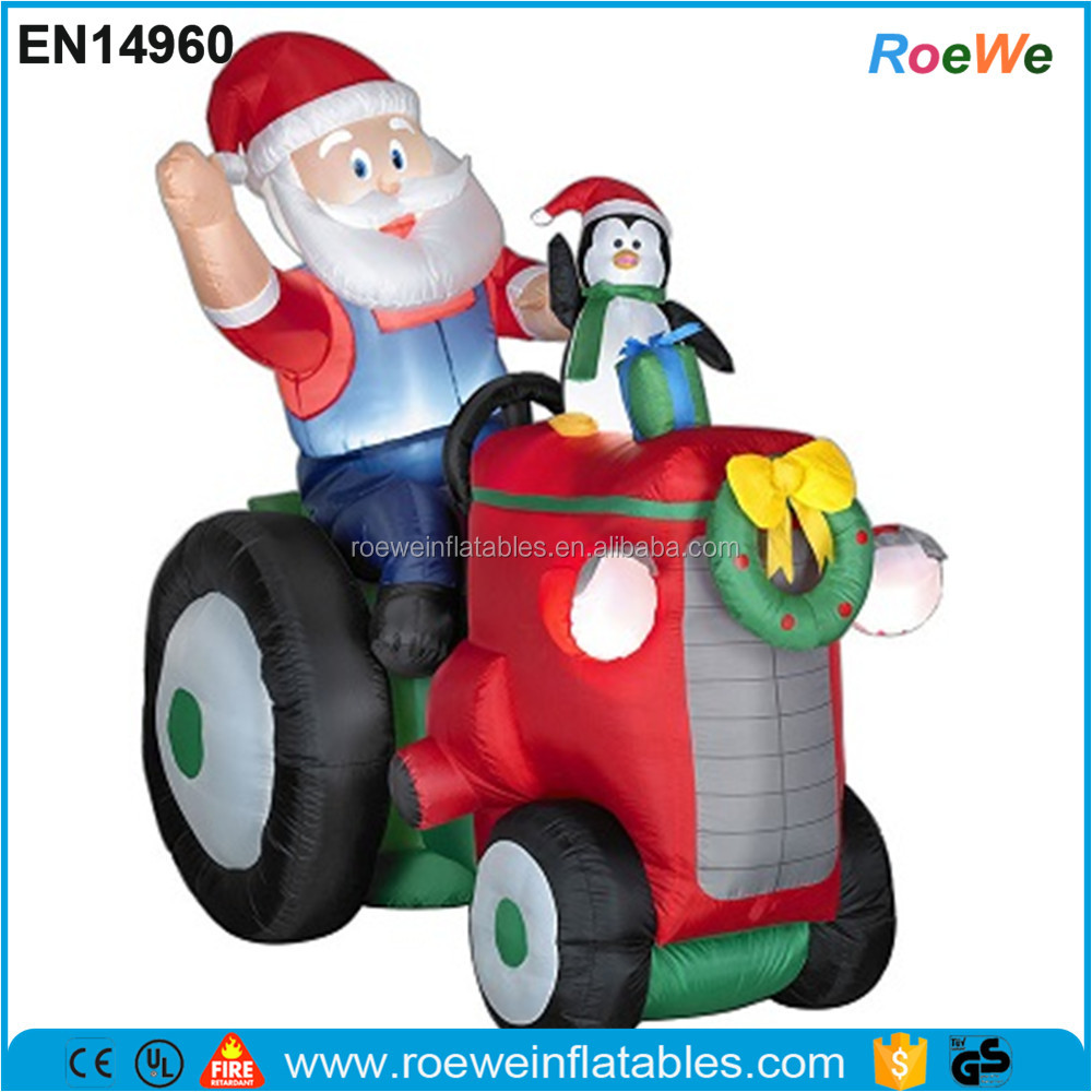 Santa On Tractor Christmas Airblown Inflatable