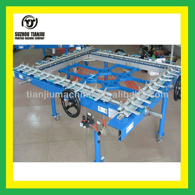 Pneumatic mesh stretcher for screen printing