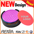 RENJIA New design rubber pallet silicon beer glass cup pad coasters holder silicone coaster set