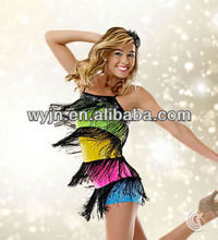 2014 new design colorful rainbow latin dress
