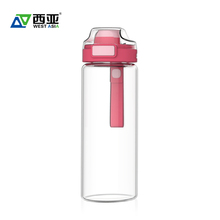 China manufacturer wholesale 550ml 650ml red tritan cap flip top custom drinking beverage juice water container oem glass bottle