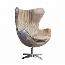 Vintage Swivel Living Room Aviation Aluminium Metal Cowhide Genuine Leather Egg Chair Leisure Home <strong>Furniture</strong>