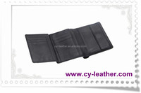 Fashion custom brief paragraph three layers folding leather wallet