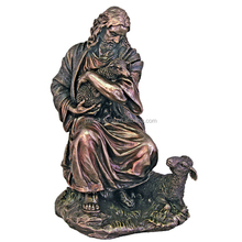 New products bronze jesus christian sculpture with sheep art wholesale