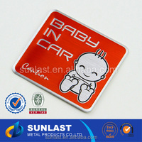 SUNLAST custom red Embossable baby in car/baby on board aluminum car sign sticker OEM701