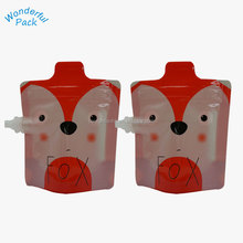 BPA Free Squeeze Meals Reusable Food Animal Pack Stand Up Spout Pouches Double Zip Bag