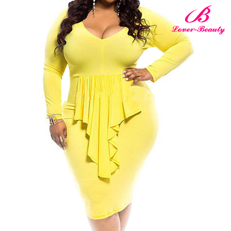Sexy Long Sleeves Yellow Big Size Dress for Fat Women