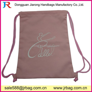 Pink Outdoor TC Cotton Drawstring Backpacks for packing