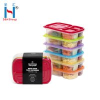 S&H BPA Free 100% Green 3-Compartment Plastic Food Storage Box Meal Container with Lids