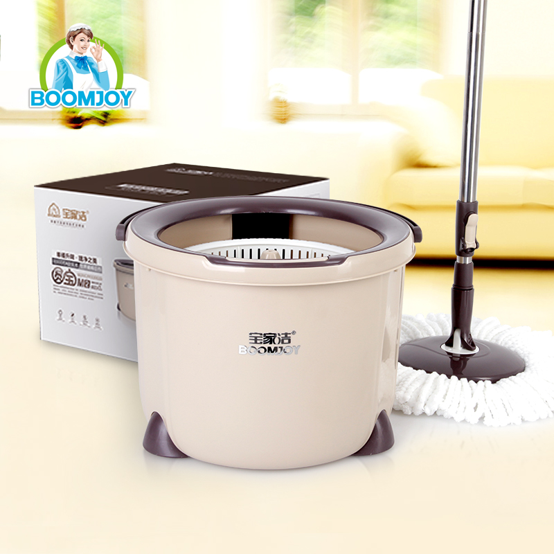BOOMJOY PD-03 newly designed hands free microfiber 360 Spin Mop bucket set with telescopic stainless steel pole