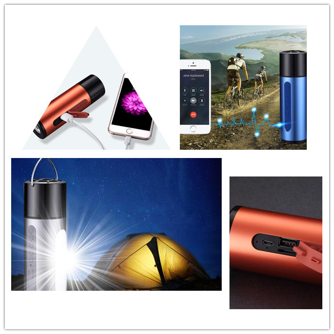 New Arrival High Quality 3 in 1 bluetooth speaker power bank with LED camp light sos light,bike holder,5200mAh power bank