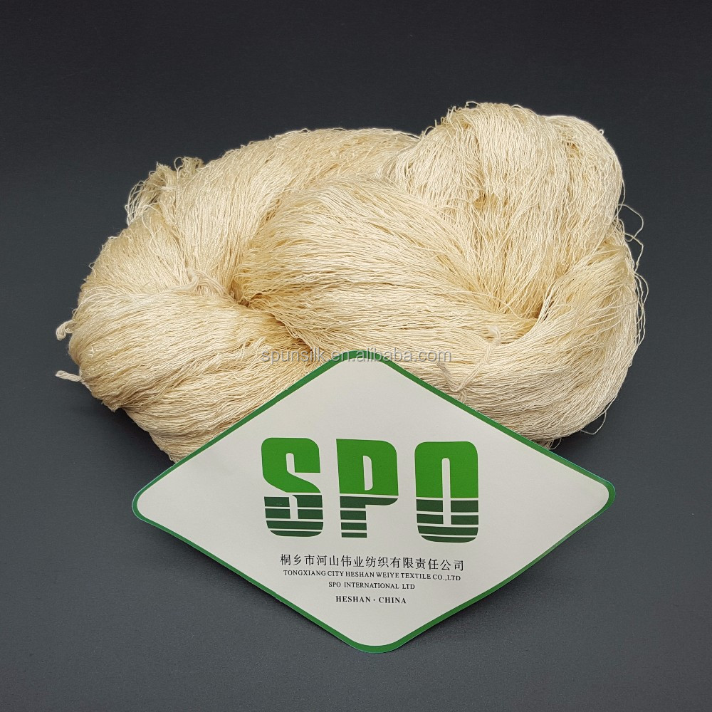 100% Udyed 120Nm/2 Tussah Yarn Silk From Tongxiang Manufacturer For Mats Knitting,Free Samples,SPO