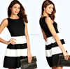 new fashion business office pencil digital custom dress sleeveless mini dress MONOCHROME SKATER DRESS
