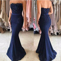 Dark Blue Sweetheart Strapless Wedding Party Dress Appliqued Beaded Backless Satin Sleeveless Mermaid Bridesmaid Dress