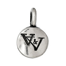 "CCB Plastic Charm Pendants Round Antique Silver Alphabet ""W"" Pattern 20.0mm x 13.0mm"