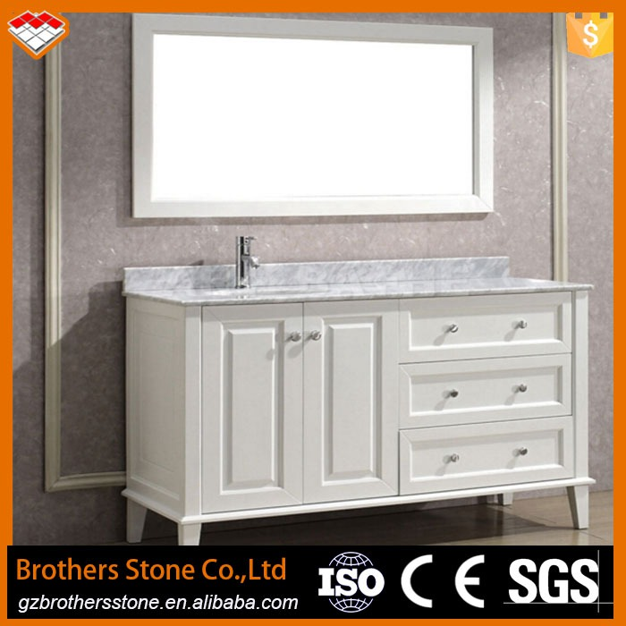 Indoor Decoration Equipped Marble Countertop And Ceramic Sink White Cheap Bathroom Vanity Cheap Wooden Cabinet