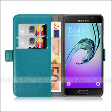 Cyan Wallet Card Slot Stand PU Magnet Flip Cover Case for Samsung Galaxy A3
