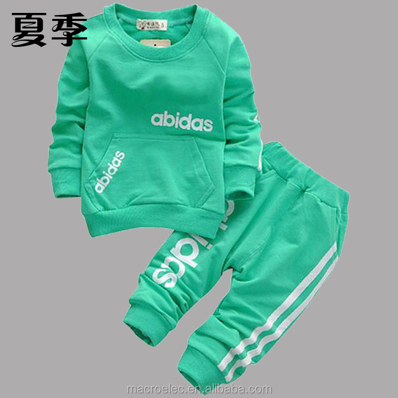 2015 cotton clothing set T-shirt+pants 2-piece set suit wear in sport clothes kids clothes baby boy girl clothes free shipping